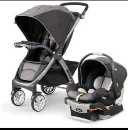 Carrinho, bebê conforto e base para carro Chicco Bravo