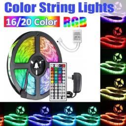 COD:0882 Fita Led RGB 5050 Rolo 5M com Fonte 12V 3A e Controle Remoto