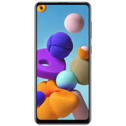 """Smartphone Samsung Galaxy A21S 3/32GB 6.5"""" 48+5+2+2/8MP-Preto De Vitrine"""