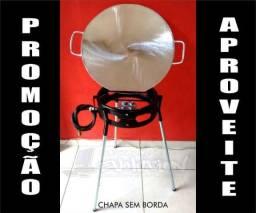 Chapa para bife de Aluminio Batido Fundido + queimador fogareiro á gás + Tripé + Mangueira