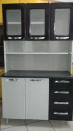 Kit cozinha compacta aço - branco e preto