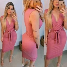 Vestido Rosa Canelado - Loja Donna Tchica