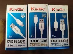 Cabo carregador 2 metros kingo Tipo C - Iphone - Micro USB v8