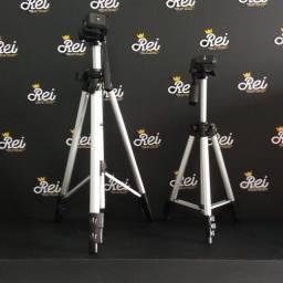 Tripé para câmeras ou celulares de 1m, 1,20m e 1,65m com travas manuais