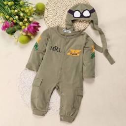 Conjunto Macacão Aviador Com Touca Personalizada Bebê Piloto