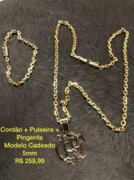 Cordao pulseira Banhado a ouro 18k