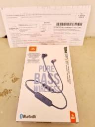 Fone Bluetooth JBL Pure Bass Tune115BT. Novo.