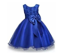 Azul Royal Vestido Infantil Festa Aniversario Casamento Princesa Tamnhos 8 e 12