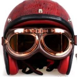 Óculos proteção motociclista custon, vintage retro, lente marrom NOVO
