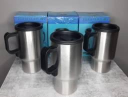 Caneca Elétrica Térmica Inox 12V Para Carro Automóvel Aquece Agua Café Leite Inverno