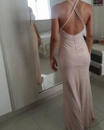 Vestido de festa rosê gold