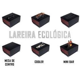 lareira ecológica mini bar e mesinha centro