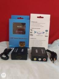 Conversor adaptador RCA para HDMI p/eletrônicos nv.na cx.aceito cartão-pix