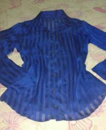 Blusa azul listrada social transparente
