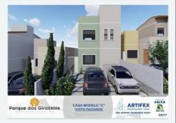 Título do anúncio: Casa 2 quartos com lavabo, 2 vg garag, churrasq, doc grátis, 100% financiada. Sta Rafaela