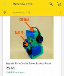 Suporte para celular e tablet boneco robô