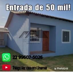 Casa de 02 em Unamar com financiamento próprio sem consulta ao Serasa e SPC!