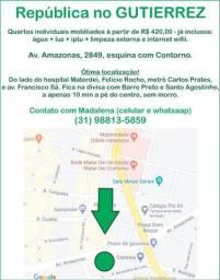 Quartos (república) no Gutierrez - av. Amazonas quase esquina com av. do Contorno