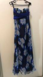 Título do anúncio: Vestido tomara que caia longo azul estampado
