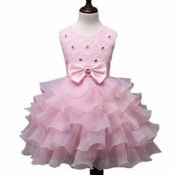 Infantil Vestido de Festa Saia c/ Babado Tamanho 5