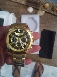 Relógio Nibosi Lançamento Todo Dourado Esportivo com Cronógrafo 100% Novo e Original
