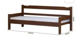 Cama solteiro/sofá de madeira maciça