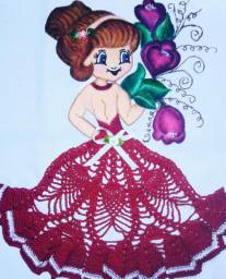 Vende-Se Panos  de Prato Pintado a a Mão e Decorado com Crochê Feitos Por Mim.
