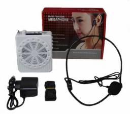 Amplificador Voz Megafone Microfone Aula Palestra Professor - Preto