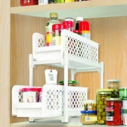 Gaveta 2 niveis portátil Organizador Armario Cesto Banheiro cozinha