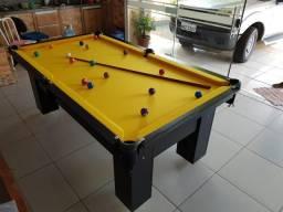Mesa de Bilhar Preta TX Tecido Amarelo Modelo QAR0654