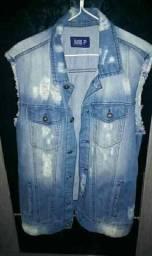 Jaqueta masculina jeans tam p mas veste m também