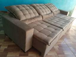 Sofá de luxo retrátil e reclinável Suede super confortável