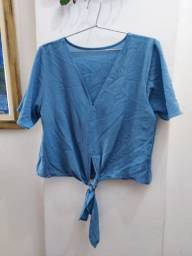 Blusa manga curta azul