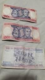 Cédulas de 100 Cruzeiros -R$ 50,00 cada