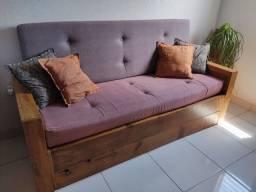 Sofá cama madeira rústica (bengutt móveis)