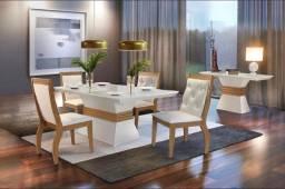 Mesa de Jantar Ágata Rufato 4 Cadeiras com tampo + Vidro - Entrega Imediata;