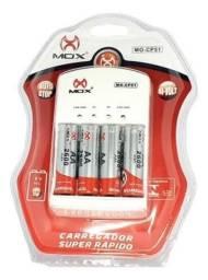 Kit carregador mox + 4 pilhas recarregáveis