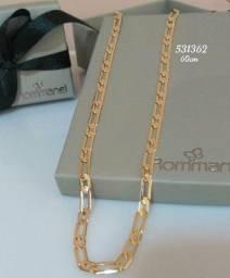 Cordão masculino banhado a Ouro 18k com elos diamantados da Rommanel - 60 cm