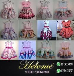 Novos Vestidos infantis personalizados vários temas e estampas