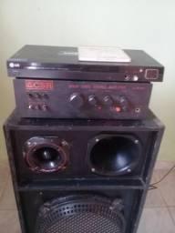 Conjunto caixa de som amplificador e dvd