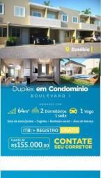 Oportunidade Casas Duplex no Eusébio 02 Quartos 155.000 Documentação Grátis val 30/05