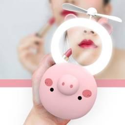 Mini Ventilador Espelho Maquiagem com Iluminação LED diversos Bichinhos