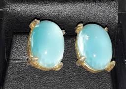 Brincos Antigos Latão e Pedra Azul