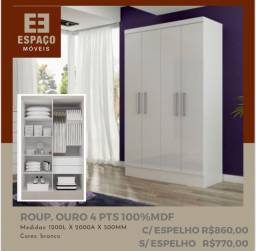 Título do anúncio: Guarda Roupas 4 Portas em MDF  Sem espelho #Entrega e Montagem Grátis