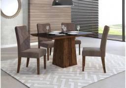 Mesa Italia 4 Cadeiras com tampo de madeira, chanfrado com vidro - Entrega Imediata!