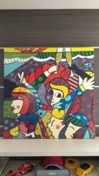 Quadro pintado à mão - Réplica Autorizada Romero Britto