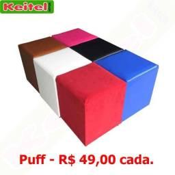 Puff Corino R$ 49,00 cada - Branco, Preto, Vermelho, Marrom.