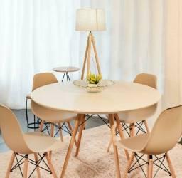 Conjunto de mesa Estilo Eiffell 110 cm de diâmetro 4 cadeiras