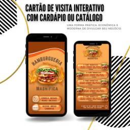 Cartão de visita interativo com cardápio ou catálogo