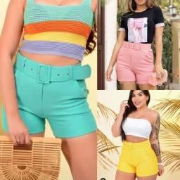 Roupas femininas, shorts, T-shirt, conjuntos, Calças
